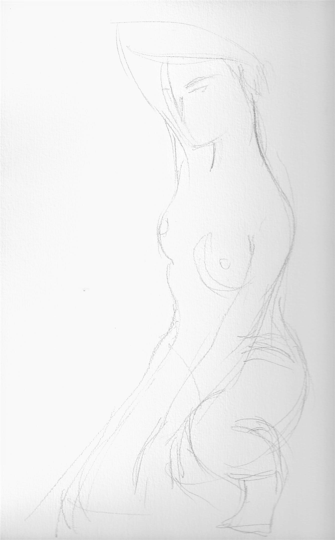 Desenho de modelo feminino nu, à lápis, realizado durante Prática de modelo vivo com Rafa Coutinho e Laerte no espaço Breu em 2017.