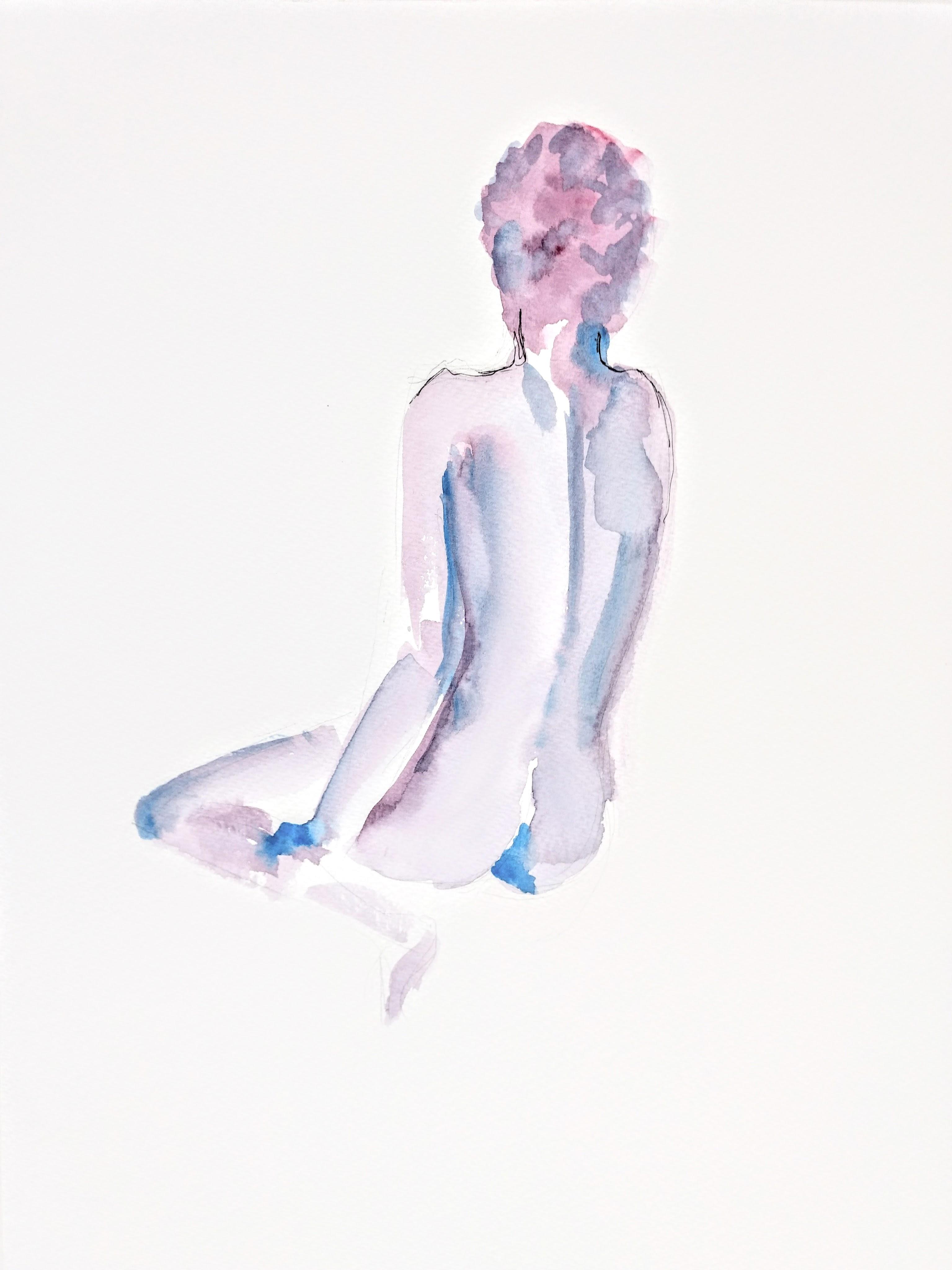 Desenho de modelo feminino nu, em aquarela e naquin, realizado durante Prática de modelo vivo com Rafa Coutinho e Laerte no espaço Breu em 2017.
