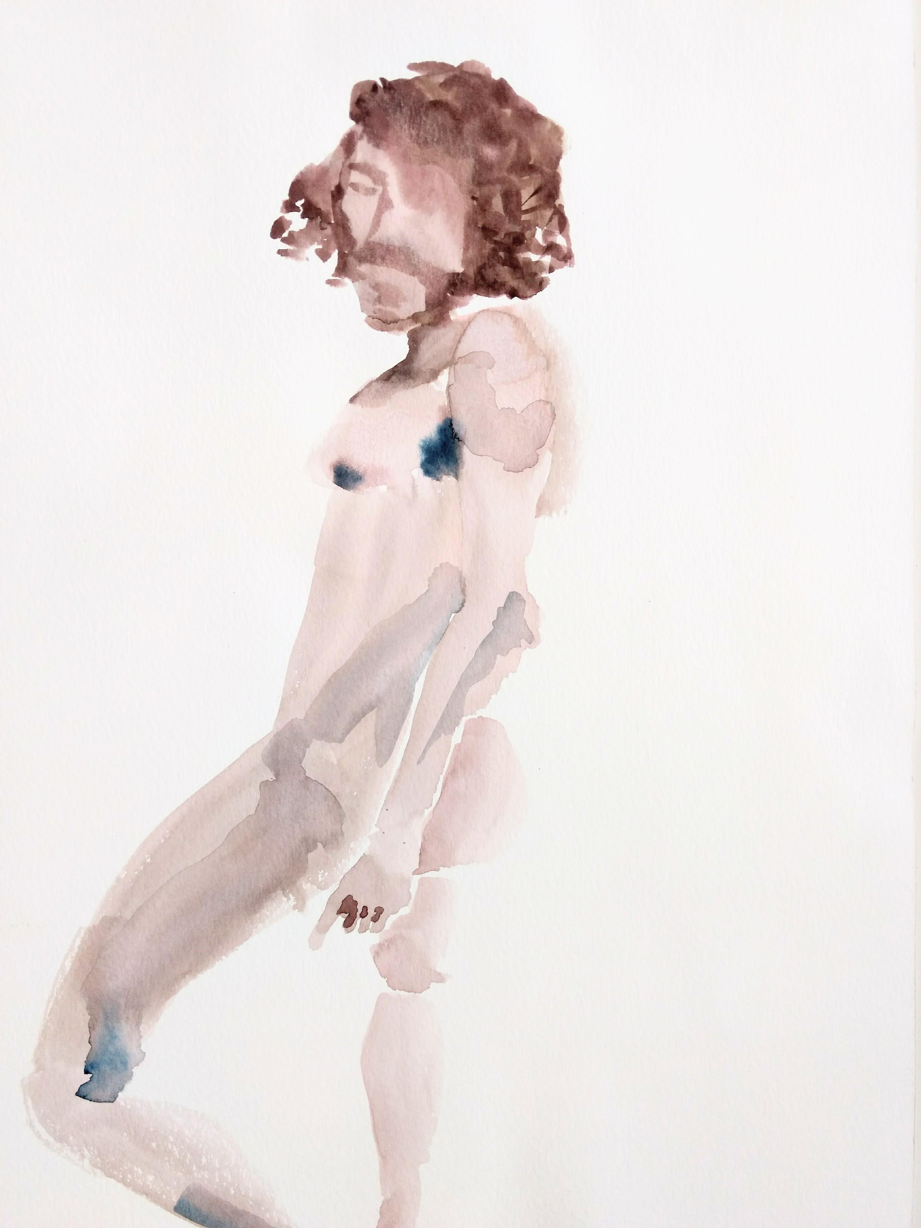 Desenho de modelo masculino nu, em aquarela, realizado durante Prática de modelo vivo com Rafa Coutinho e Laerte no espaço Breu em 2017.