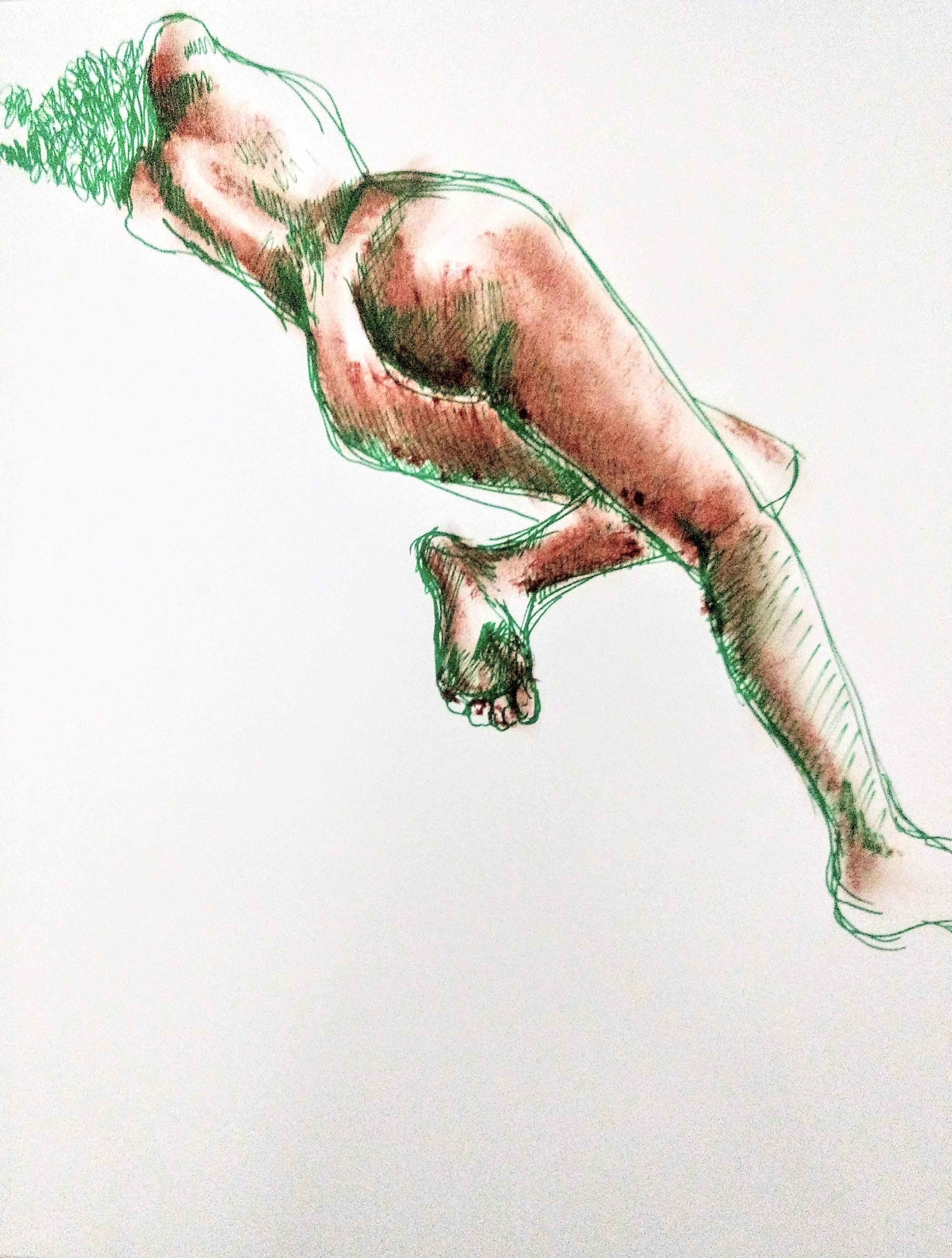 Desenho de modelo feminino nu, em caneta posca e pastel oleoso, realizado durante Prática de modelo vivo com Rafa Coutinho e Laerte no espaço Breu em 2019.