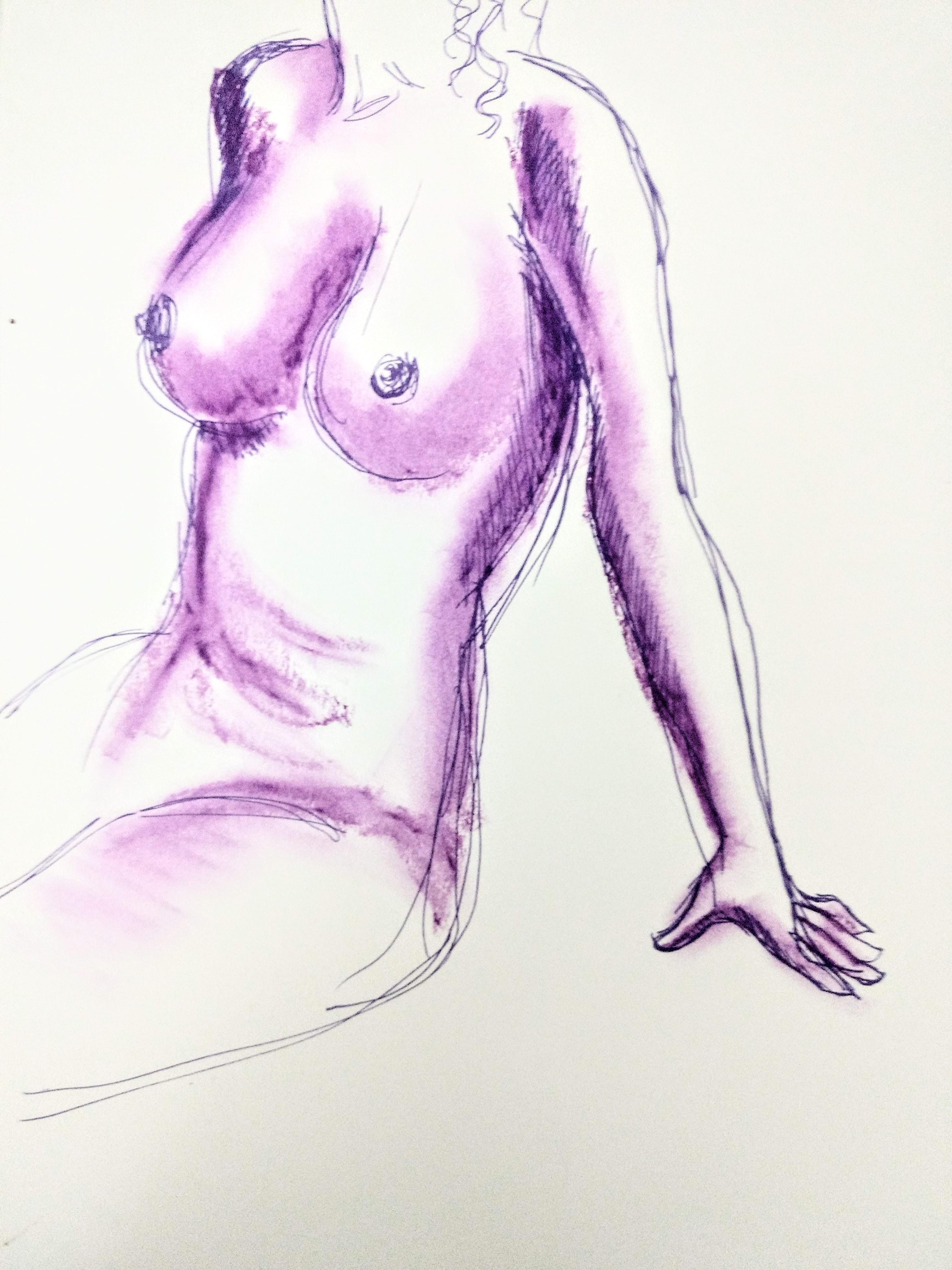 Desenho de modelo feminino trans nu, em caneta posca e pastel oleoso, realizado durante Prática de modelo vivo com Rafa Coutinho e Laerte no espaço Breu em 2019.