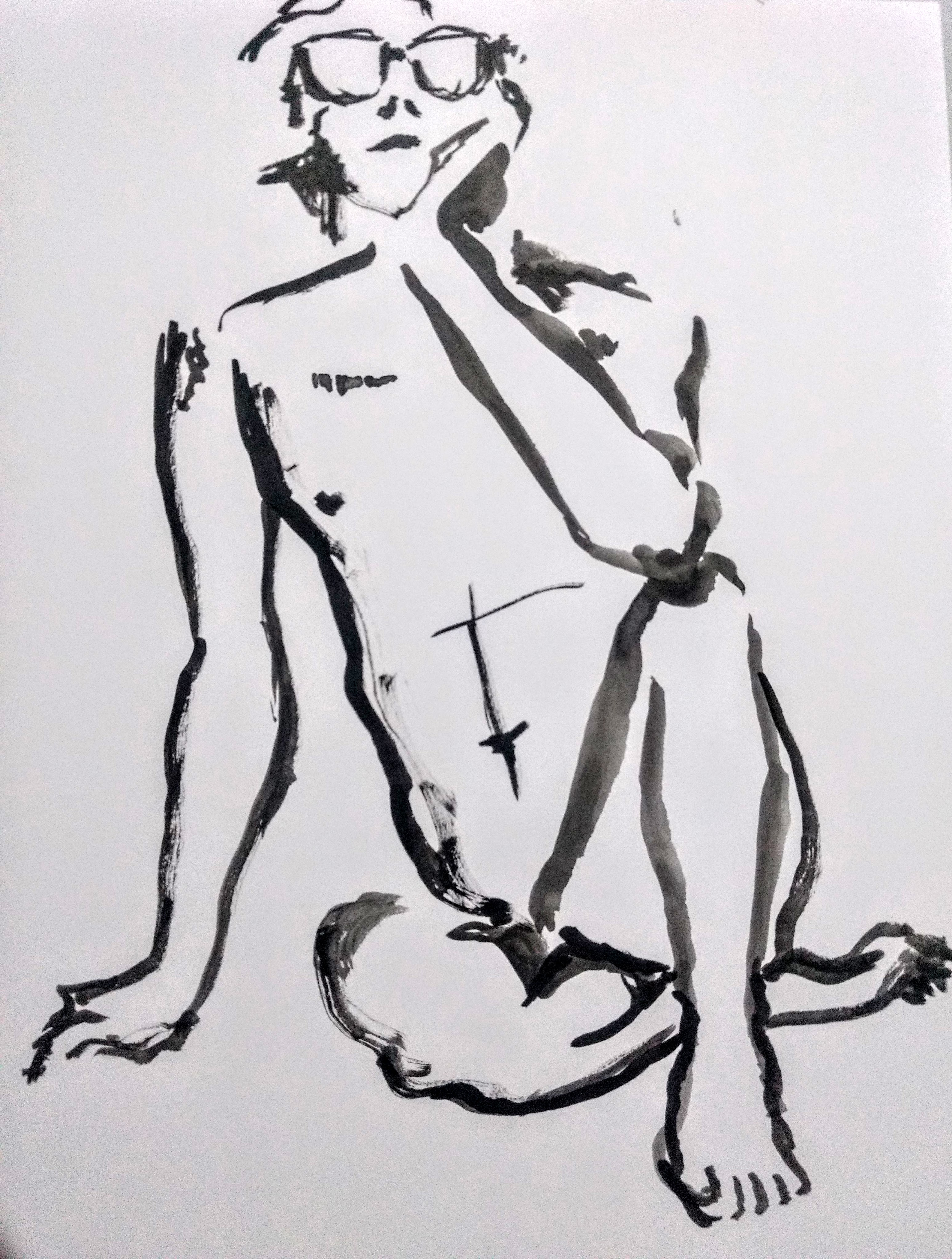 Desenho de modelo masculino trans nu em sumiê, realizado durante Prática de modelo vivo com Rafa Coutinho e Laerte no espaço Breu em 2019.