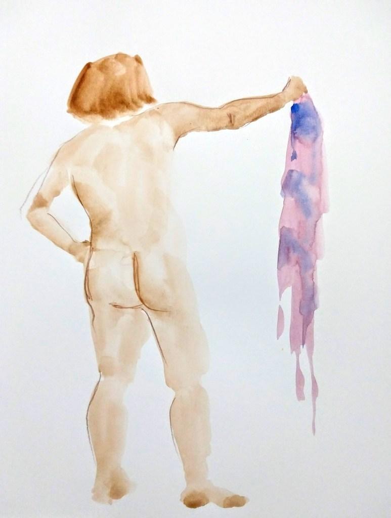 Desenho de modelo feminino nu em aquarela e lápis de cor, realizado durante Prática de modelo vivo com Rafa Coutinho e Laerte no espaço Breu em 2019.