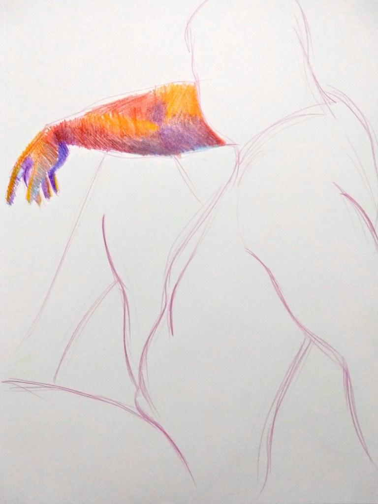 Desenho de modelo masculino nu em lápis de cor, realizado durante Prática de modelo vivo com Rafa Coutinho e Laerte no espaço Breu em 2019.