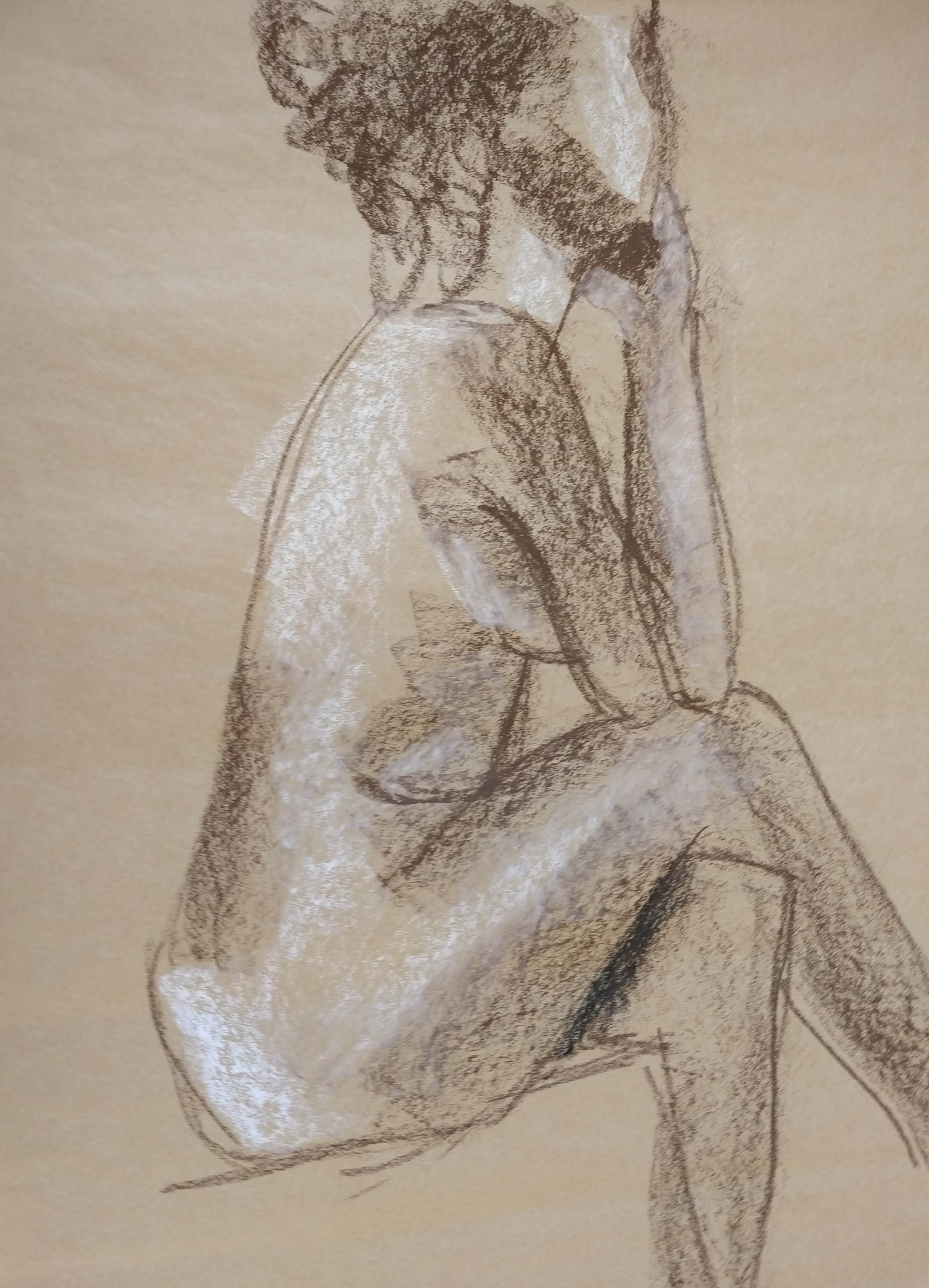 Desenho de modelo feminino nu, em pastel oleoso, realizado durante Prática de modelo vivo com Rafa Coutinho e Laerte no espaço Breu em 2019.