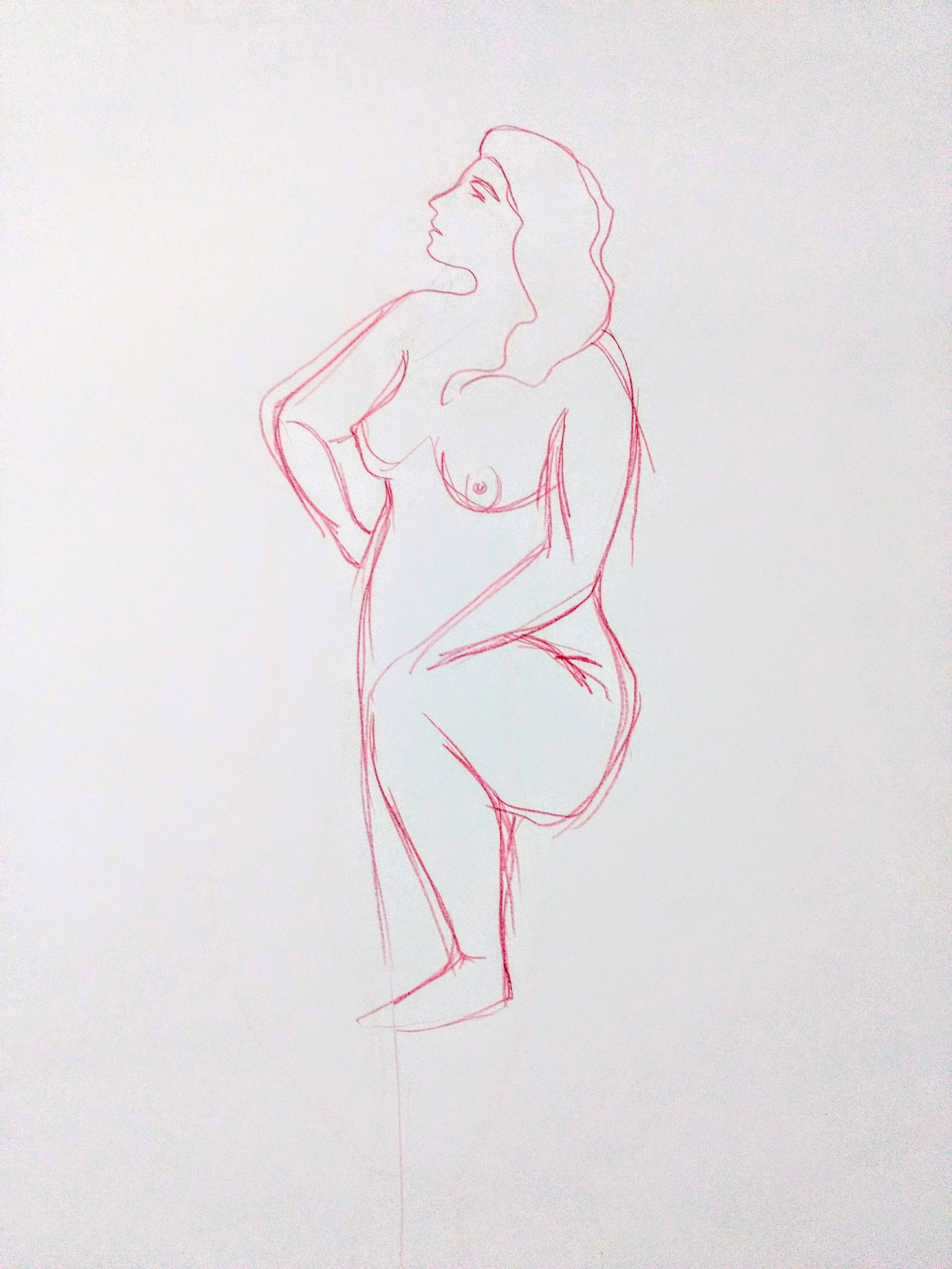 Desenho de modelo feminino nu, à lápis de cor, realizado durante Prática de modelo vivo com Rafa Coutinho e Laerte no espaço Breu em 2017.